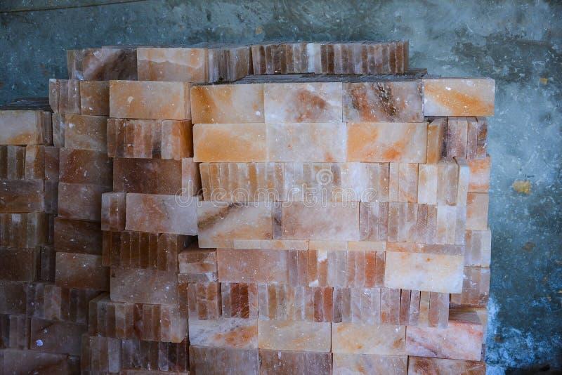 Pile of Rock Salt Tiles stock photography