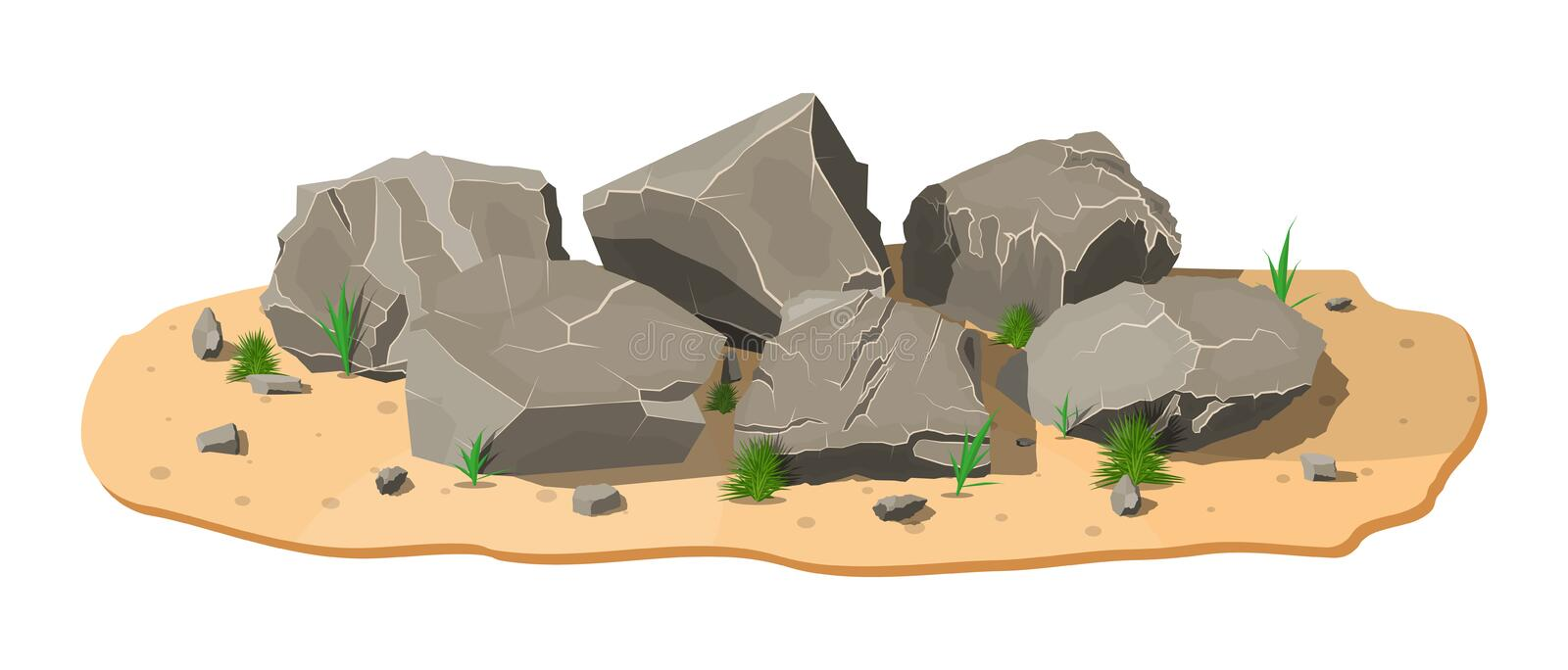 Pile of rock stone with grass on sand. vector illustration