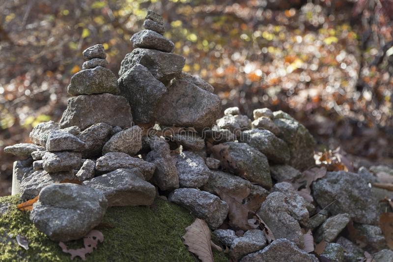 Pile of Rocks at climbing path in Seoul Park stock photo