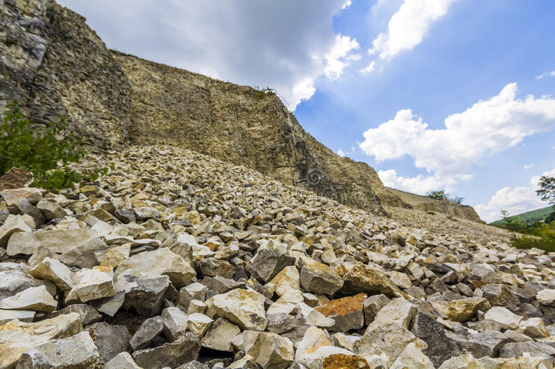 Pile of rocks and stones in mining place royalty free stock photography