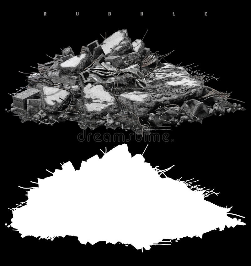 Pile of rubble royalty free illustration