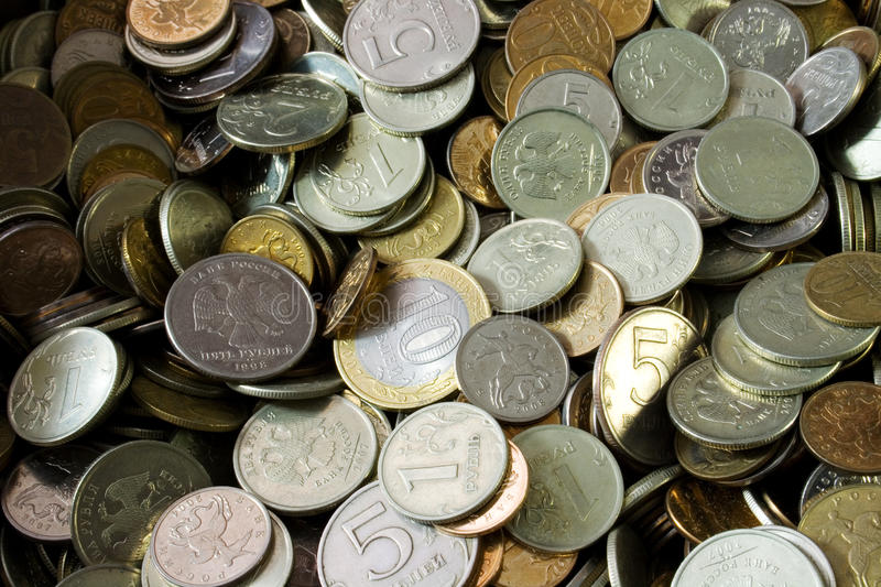 A pile of russian coins stock images