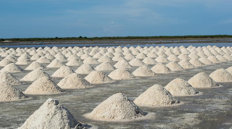 Pile of salt in the salt pan at rural area. Of Thailand royalty free stock images