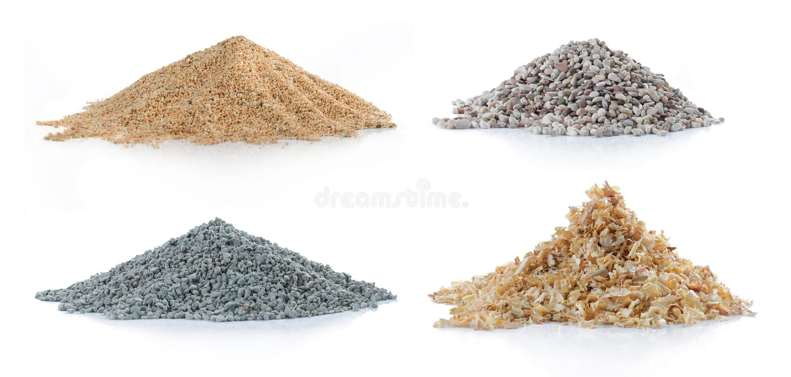 Pile of sand, pine wood, green carbon and rock. Pile of sand, green carbon, pine wood and rock isolated over white background royalty free stock photo
