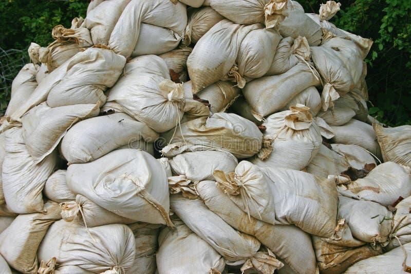 Pile of Sandbags. A jumbled pile of sandbags stock photos