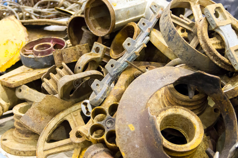 Pile of scrap metal. For recycling stock image