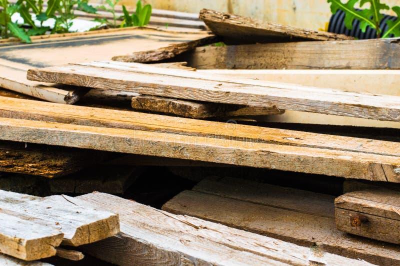 Pile of scrap wood. In a garden stock photo