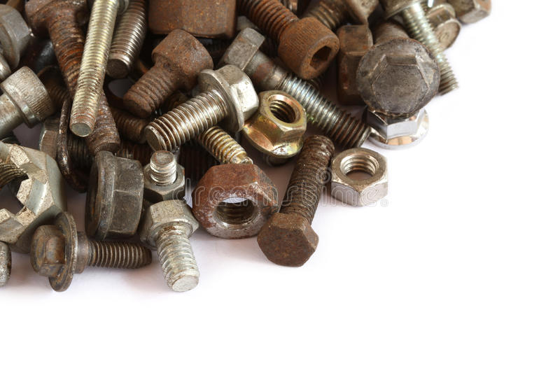 Pile of and bolt. Pile of rusty and bolt on white background stock photos