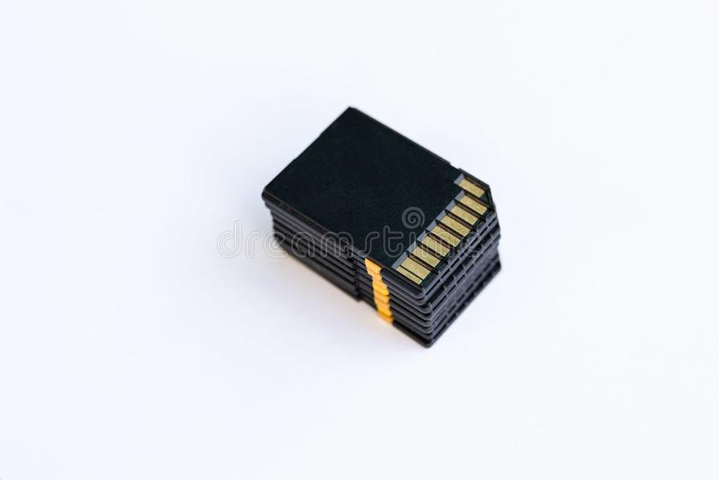 Pile of SD flash cards stock images