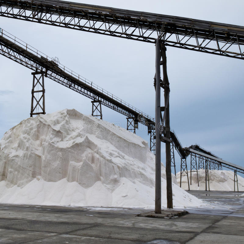 Download Pile Of Sea Salt Under Conveyor Of Saline Refinery Stock Image - Image: 24707325