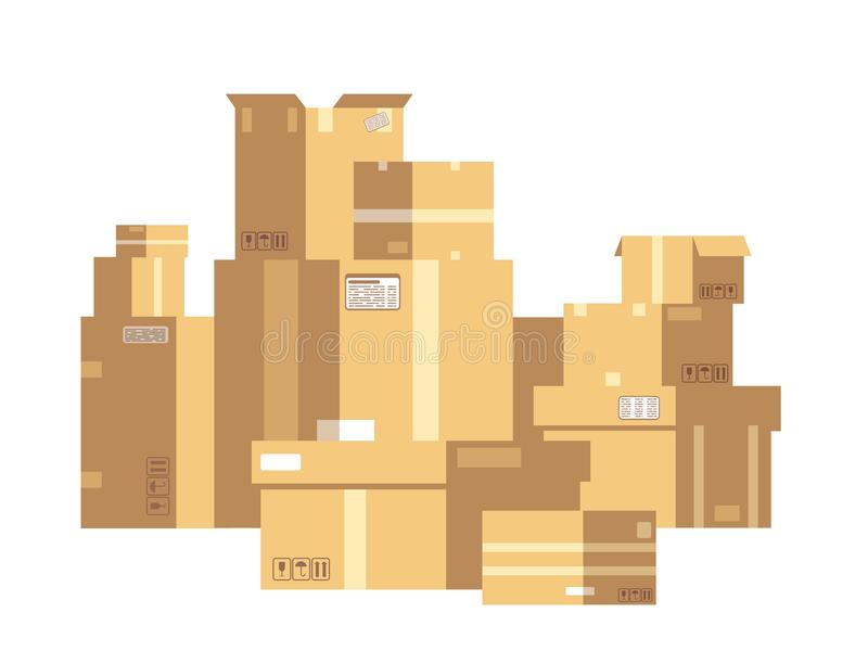 Pile of sealed goods cardboard boxes. Mail box stack isolated. Delivery and cargo vector concept royalty free illustration