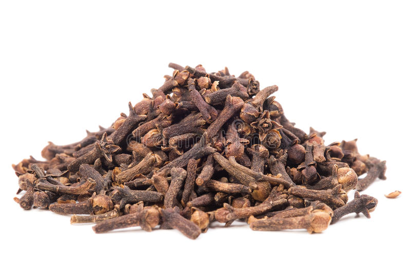A pile of seed clove. Isolated on white background stock photos