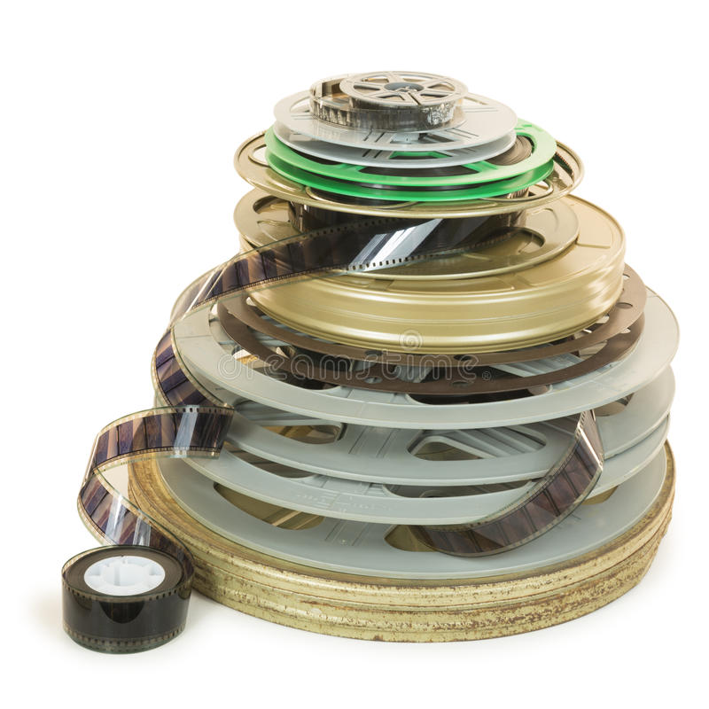 Pile of Several Types of Movie Film Reels stock photography