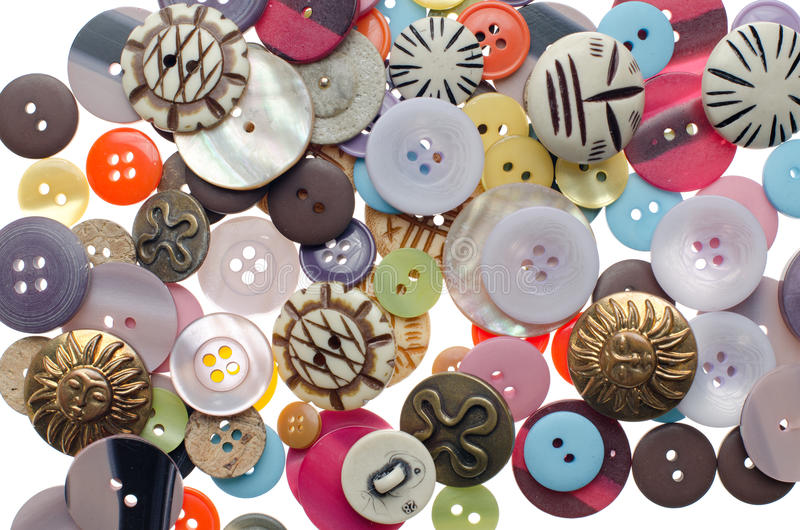 Pile of sewing buttons stock photo