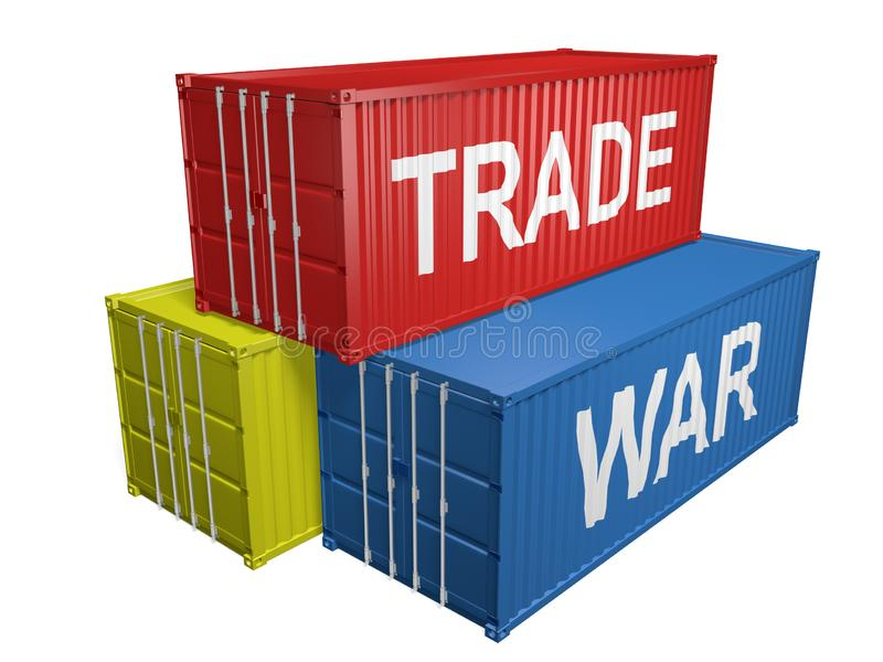 Pile of shipping containers for imports and exports with the words trade war vector illustration