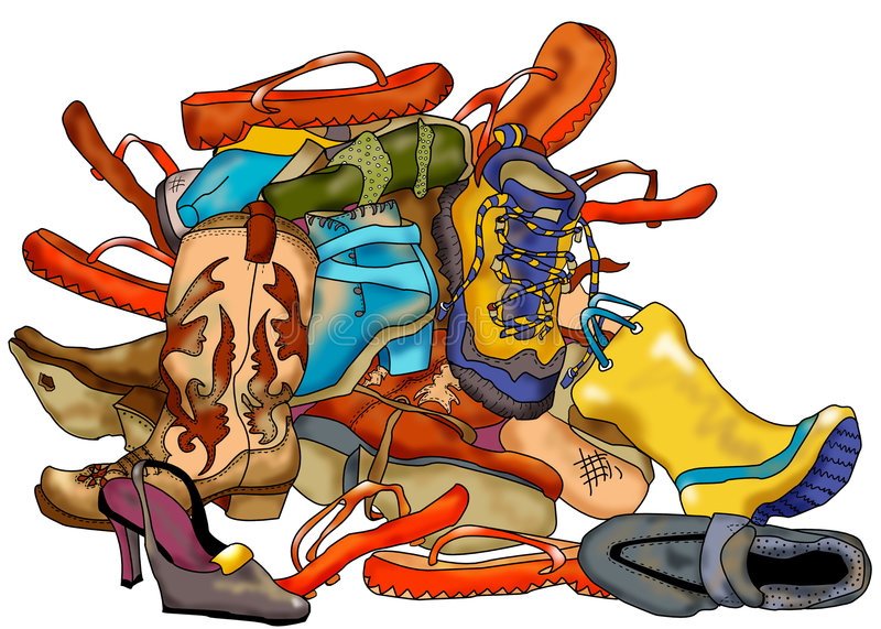 Download Pile of Shoes stock illustration. Image of lots, boots - 2056810