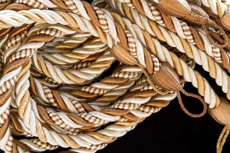 Pile Of The Silk Rope Curtain Tassels. Royalty Free Stock Image