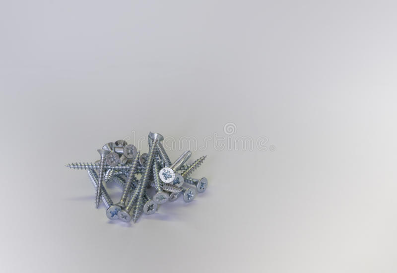 Pile of silver bolts royalty free stock photo