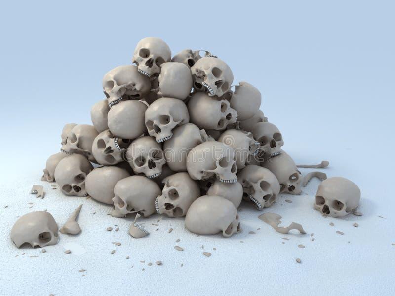 Pile of skulls 3d illustration royalty free illustration