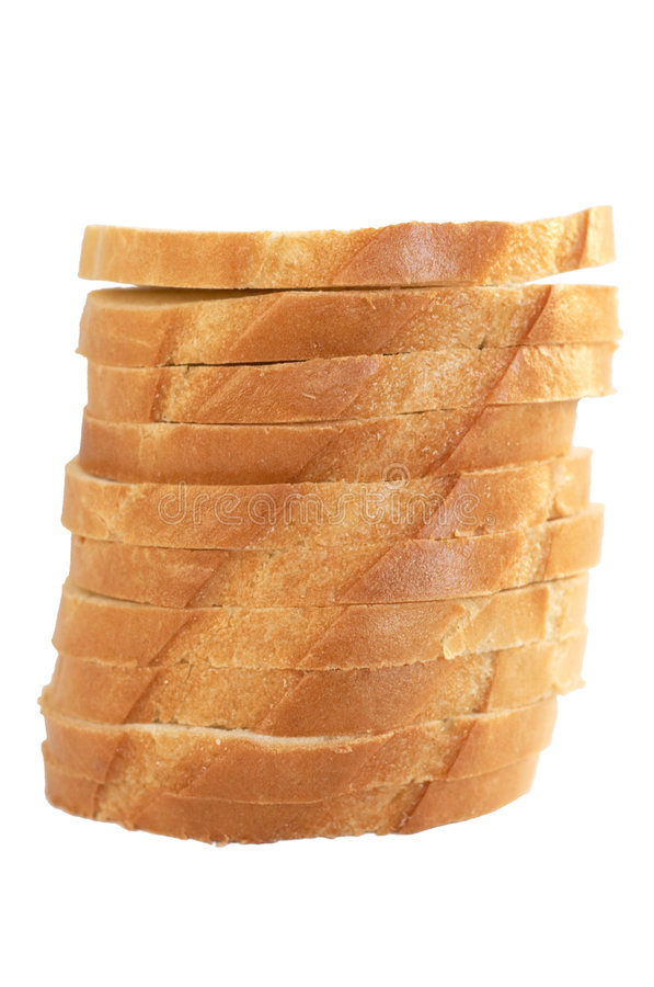 Pile of slices of a white loaf stock images