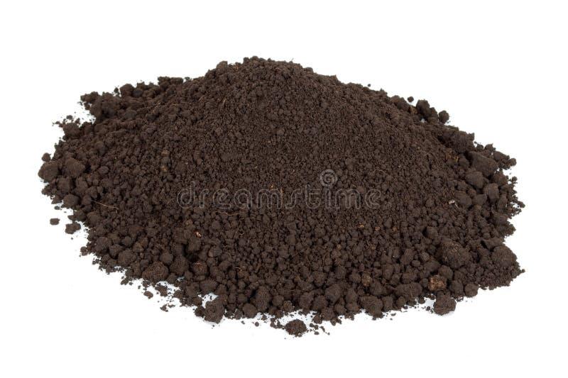 Pile of soil. On white stock images