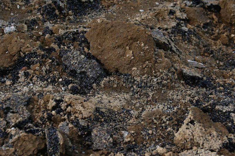 Pile of soil, earth and rocks. Earth, soil, rocks, tar pebbles in pile stock photography