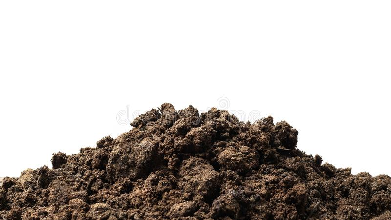 Pile of soil isolated on pure white background with ground suitable for growing plants or gardening. Natural soil piles filled stock photography