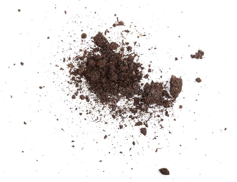 Pile of soil isolated on white background, top view royalty free stock photo