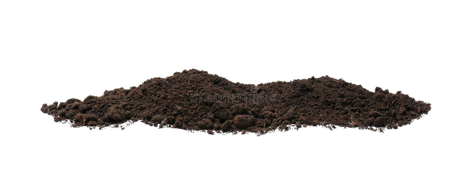Pile of soil on white background. Fertile ground royalty free stock images