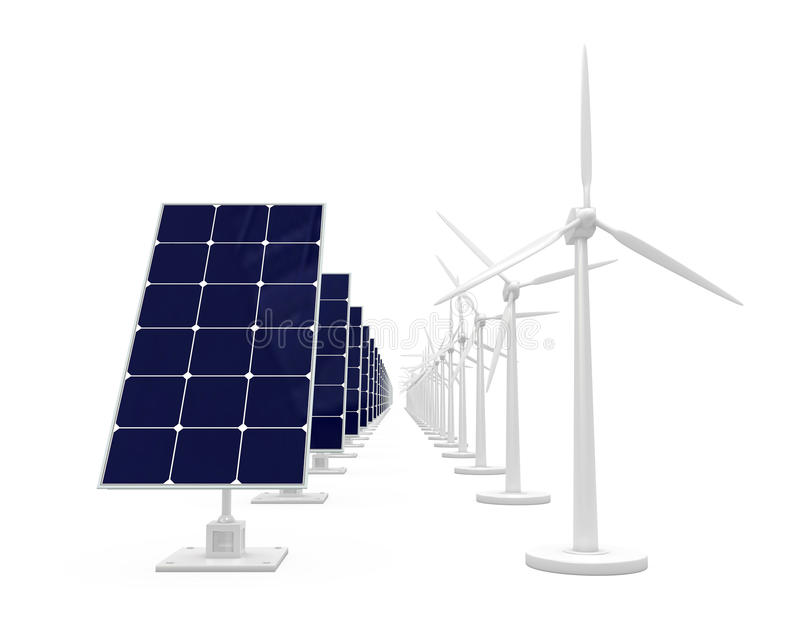 Pile solaire et générateur de vent illustration stock