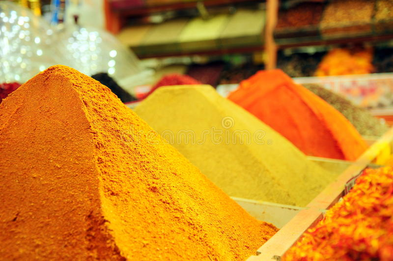 Pile of spices at market royalty free stock images