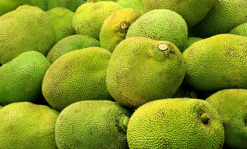 A pile of jack fruit to sale in the market. A pile of spiky skin sweet jack fruit to sale in the market stock photos