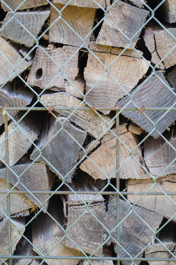 Pile of Split Logs for a Wood Burning Fire Place royalty free stock photo