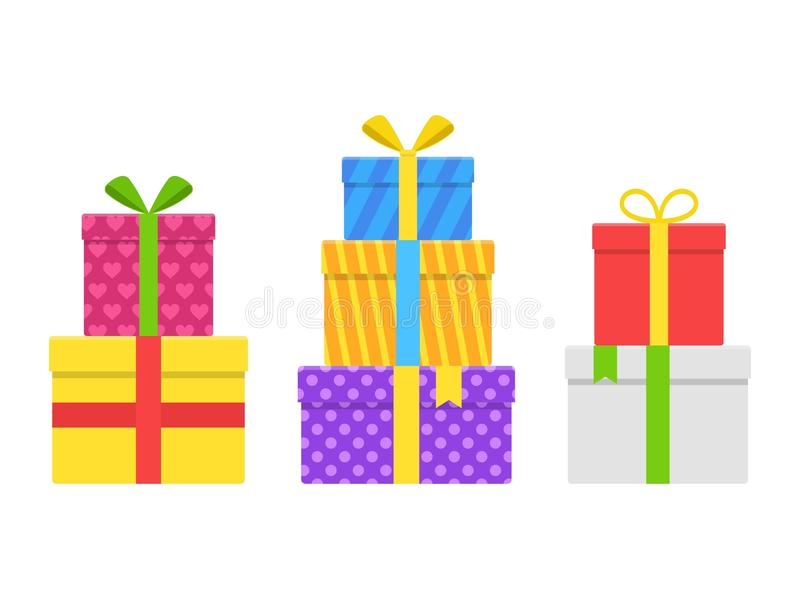 Pile stack gifts, present boxes with ribbon and bow set. vector illustration