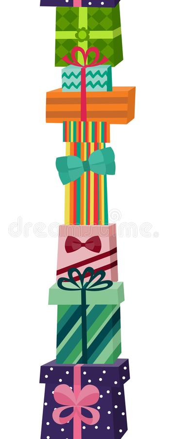 Pile, stack, heap of gifts and present boxes. Pile, stack, heap of gifts and presents in colourful wrapping paper, flat cartoon vector illustration isolated on royalty free illustration