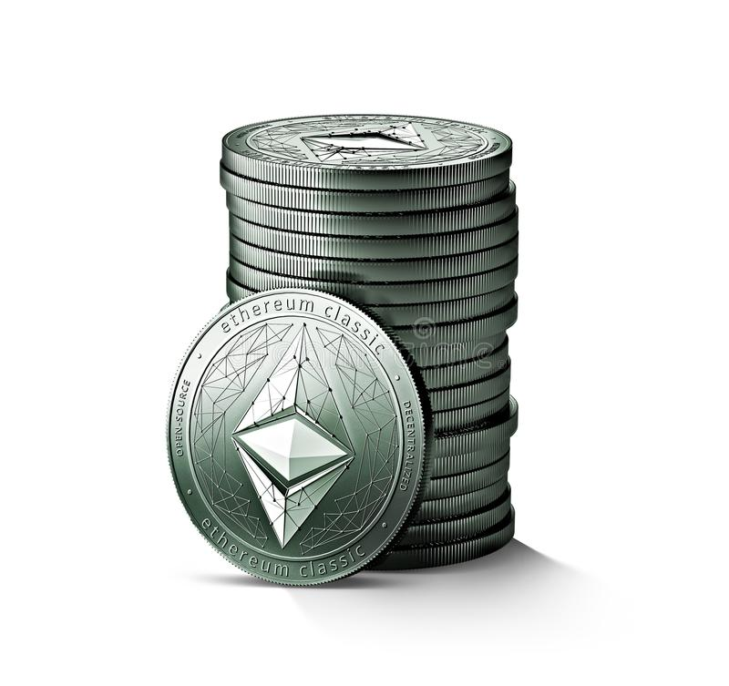 Pile or stack of silver Ethereum classic ETC coins isolated on white background. vector illustration