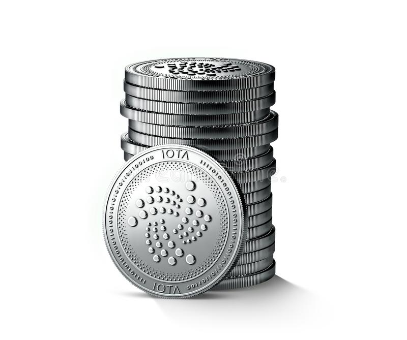Pile or stack of silver IOTA coins isolated on white background. One coin is turned towards the camera. vector illustration