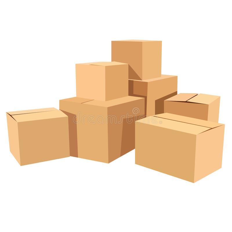 Pile of stacked sealed goods cardboard boxes. Flat style vector illustration isolated on white background. royalty free illustration