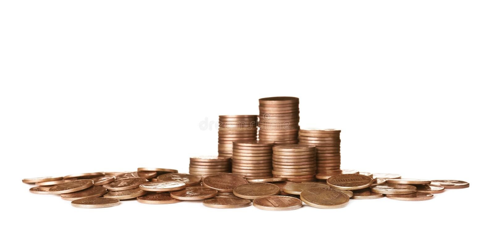 Pile and stacks of US coins isolated. On white stock image