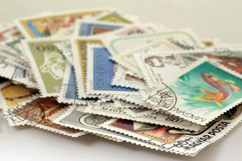 A pile of stamps royalty free stock photo