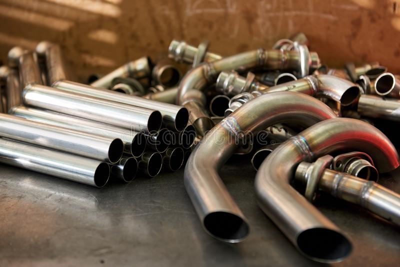 Pile of steel pipes. stock image