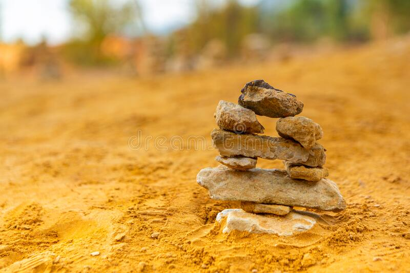 Pile of stones in balance land art. In nature stock photos