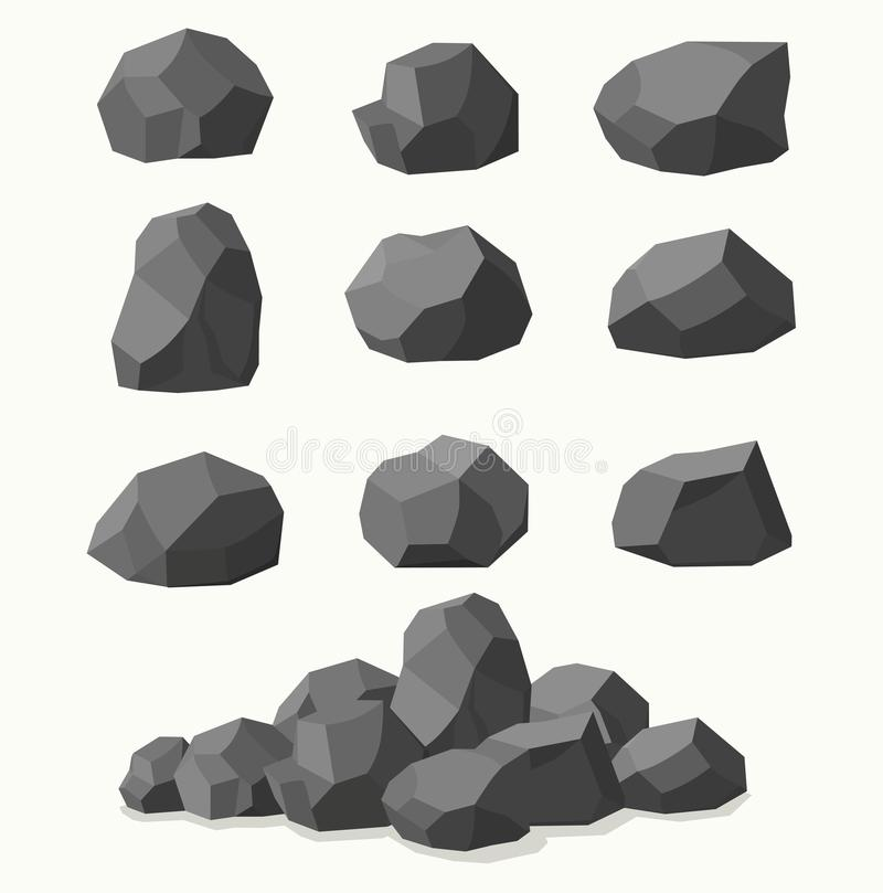 Pile of stones, graphite coal. Pile of stones, graphite coal on white background royalty free illustration