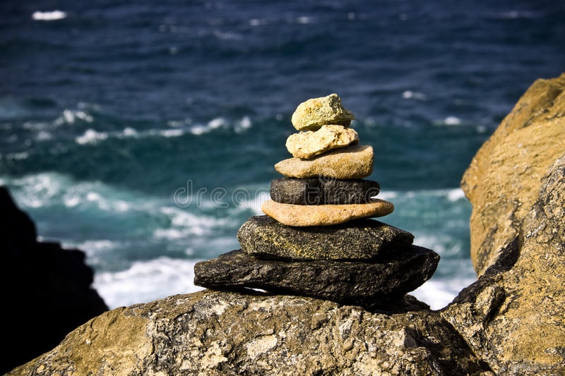 Pile of Stones on Rock stock images