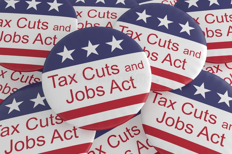 Pile of Tax Cuts And Jobs Act Buttons With US Flag, 3d illustration. USA Politics News Badges: Pile of Tax Cuts And Jobs Act Buttons With US Flag, 3d vector illustration