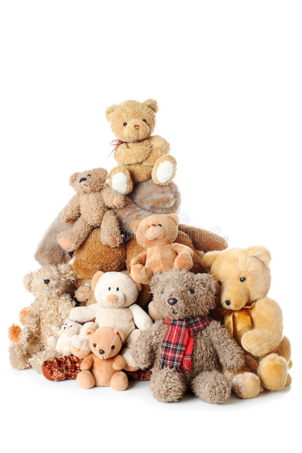 Pile of Teddy bears   Isolated stock image