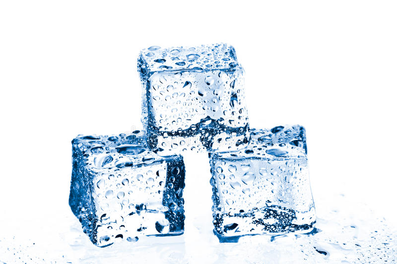 Pile of three ice cubes royalty free stock photo