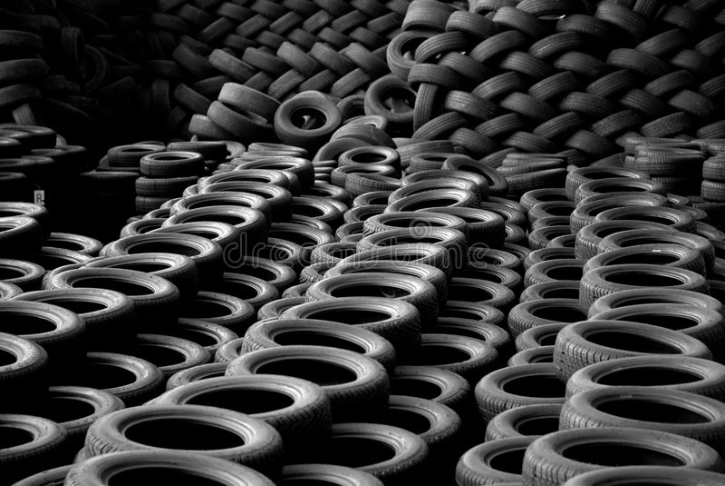 Pile of tires stock photos
