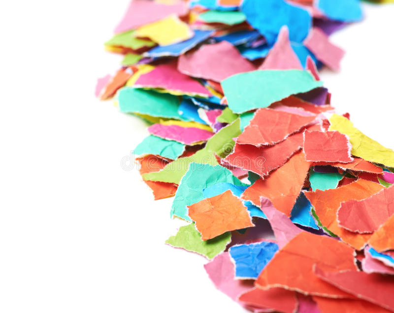Pile of torn paper pieces isolated stock images