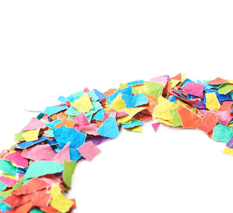 Pile of torn paper pieces isolated stock photography